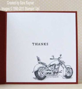 Inside of masculine thank you card