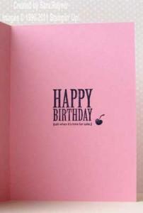 birthday cake card - inside
