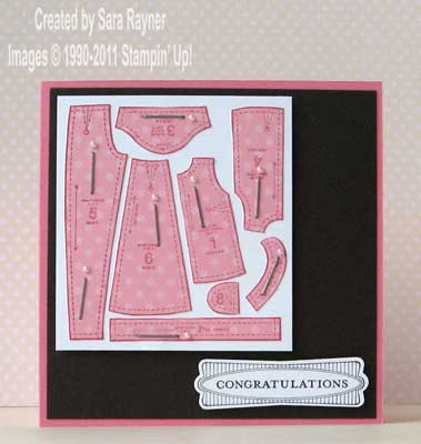 paper pieced dressmaking card