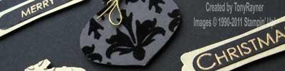 black and gold xmas card close up