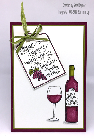The Card Base Is An A6 Portrait Of Rich Razzleberry Matted With Old Olive Using Memento Black Ink Wine Bottle And Large Glass Were Stamped Onto
