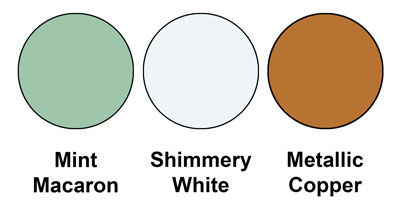 The Colour Combo Is Mint Macaron Shimmery White And Metallic Copper